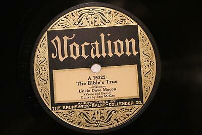 £145.24 • Buy COUNTRY UNCLE DAVE MACON SAM MCGEE The Bible's True VOCALION 15322 EE+