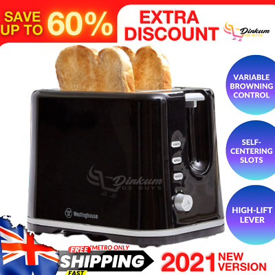 AU49.45 • Buy Black 2 Slice Toaster Extra Wide Slot High Lift Reheat Defrost Cancel Variable