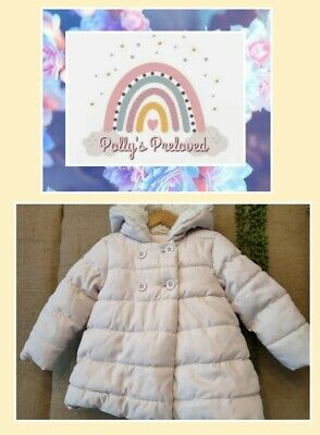 £3 • Buy Next Girls Pale Pink Padded Autumn/Winter Coat, Fur Lined Hood, Age 12-18 Months