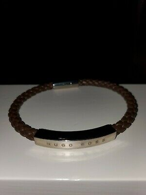 £52.99 • Buy Mens Hugo Boss Brown Braided Woven Leather Silver Tone Magnetic Cuff Bracelet BN