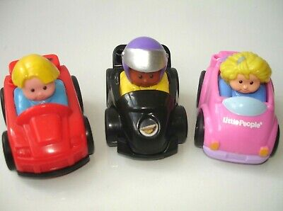 £4.75 • Buy Fisher Price Little People Red Black & Pink Push Along Toy Cars Kids Toys