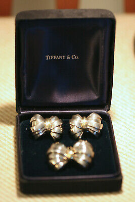 £290.97 • Buy Tiffany & Co. Authentic Sterling Silver & 18k Gold Bow Clip Earrings + Bow Pin