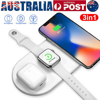 AU20.99 • Buy 3in1 Qi Wireless Charger Fast Charging Dock Stand For Airpods Apple Watch IPhone