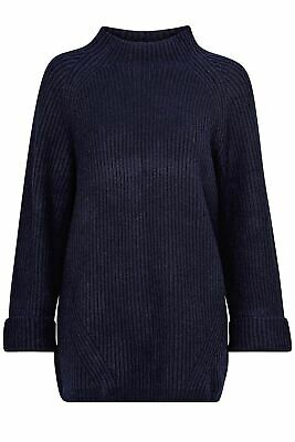 £14.95 • Buy Womens Navy Jumper Oversize Chunky Ribbed Knit Soft Warm From Ellos Of Sweden