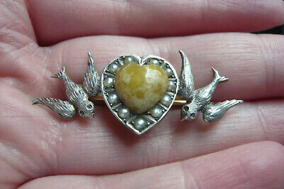 £6 • Buy Art Deco Scottish Iona Marble, Seed Pearl And White Metal Love Bird's Brooch