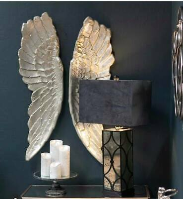 £11.50 • Buy Extra Large Antique Silver Angel Wings Decorative Wall Mounted Hanging  Art Gift