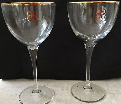 £4.40 • Buy 2 Baileys Tall Stem Balloon Delux Glasses With Gold Edging And Logo
