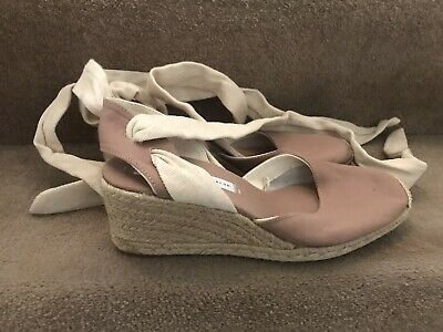 £5.50 • Buy Zara Canvas Espadrille AnkleTie Wedge Shoes Size6/39