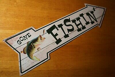 £7.29 • Buy Rustic Country Primitive GONE FISHING Arrow Sign Bass Fisherman Cabin Decor NEW