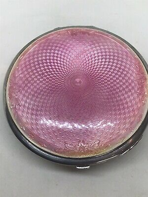 £119 • Buy Large 1934 Crisford & Norris Pink Guilloche Solid Silver Compact Case