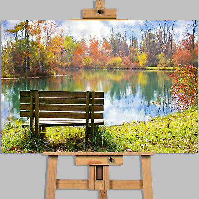 £17.99 • Buy Abstract Bench Autumn Trees Canvas Picture Wall Art Print