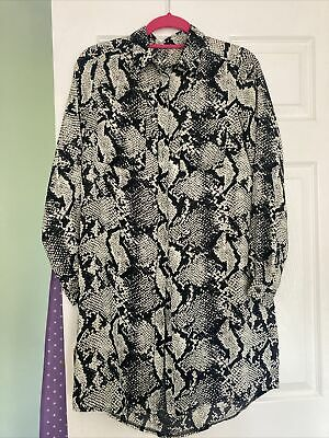 £0.99 • Buy Ladies Snake Skin Print Blouse Cameo Rose Size 12 Excellent Condition