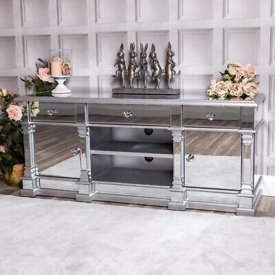 £72 • Buy Large Silver Mirrored Television Stand TV Unit Furniture Glass Cabinet Unit Home