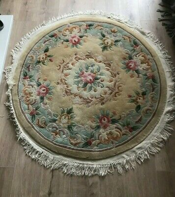 £10 • Buy Large Thick Vintage Chinese Style Circular  Fringed Wool Rug