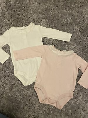 £0.99 • Buy Baby Girls 3-6 Months Pink White Fril Collar Vest Long Sleeve Immculate