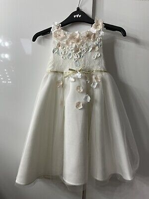 £14.99 • Buy Monsoon Girls Flower Girl Bridesmaid Floral Lace Dress Ivory Ribbon Age 4 Used