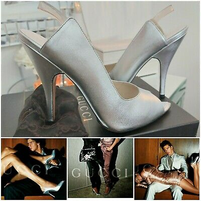 AU471.80 • Buy GUCCI Tom Ford Silver Spring Summer 2003 Ad Campaign  Runway Shoes Heels Size 38