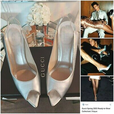 AU235.90 • Buy GUCCI Tom Ford Silver Spring Summer 2003 Ad Advert Runway Shoes Heels Size 38.5