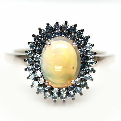 £7.27 • Buy NATURAL 7 X 9 Mm. MULTICOLOR OPAL & BLUE SAPPHIRE 925 SILVER RING SZ 6.75