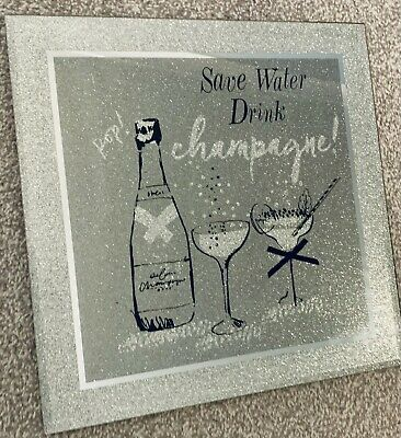 £15.99 • Buy Next Wall Picture Glitter Mirror Wall Art Save Water Drink Champagne