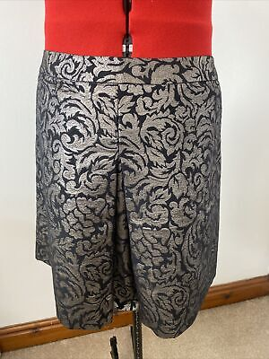 £9.75 • Buy M&S Cotton Blend A Line Fully Lined Mini Skirt Black & Silver Sparkle Size 14