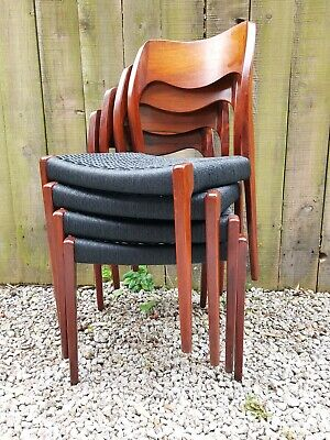 £1999.99 • Buy Mid Century Modern 4 Rosewood Moller 71 Chairs Black Papercord