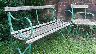 £150 • Buy Lovely Antique Wrought Iron Garden Bench AND Chair - Vintage