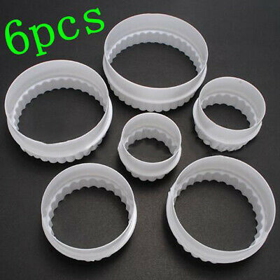 £3.08 • Buy 6Pcs/Set Round Plastic Scalloped Fluted Cookie Pastry Biscuit Cutter Cake Decor