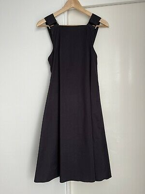 AU61 • Buy Scanlan Theodore Navy Cotton Sleeveless Pinafore Dress With Tie/Lace Up Back Sz8