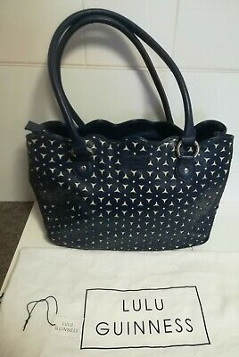 £10 • Buy Lulu Guinness Navy Perforated Leather Scalloped Wanda Bag With Dust Bag