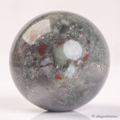 £0.01 • Buy 57g 34mm Natural African Bloodstone Crystal Sphere Healing Ball Chakra