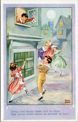 £5.80 • Buy Rene Coke 'Girls & Boys Come Out To Play' Children Playing Signed Postcard F70