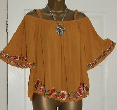 £2.20 • Buy George⭐️mustard Embroidered Cold Shoulder Top Size 14 🌸 New Boho Gypsy