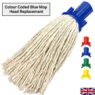 £4.99 • Buy Cotton Mop Head Replacement Floor Multi Fit Heavy Duty Cleaning Kitchen Blue