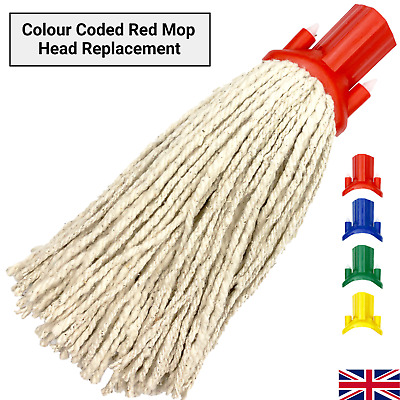 £4.99 • Buy Cotton Mop Head Replacement Floor Multi Fit Heavy Duty Cleaning Kitchen Red