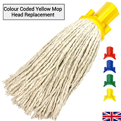 £4.99 • Buy Cotton Mop Head Replacement Floor Multi Fit Heavy Duty Cleaning Kitchen Yellow
