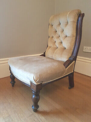 £240 • Buy Antique Mahogany Victorian Upholstered Nursing Or Slipper Chair With Castors