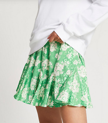 £5 • Buy RIVER ISLAND Green Floral Print Skirt Size 10
