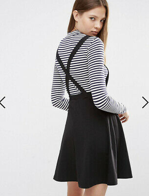 AU22 • Buy ASOS Black Stretch Jersey Pinafore Frock Dress A Line Short Skirt 12 As New