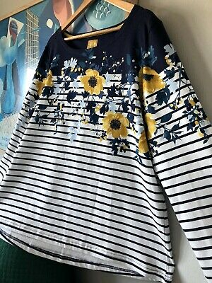 £3.99 • Buy Womens JOULES Navy White Striped HARBOURPRINT Floral Shirt Top. Size 20