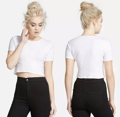 £9.47 • Buy TopShop Crop Tee Top 6 White Raw Hem Ribbed Stretchy Casual Concert Festival NEW