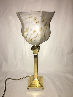 £5 • Buy Art Deco Style Table Lamp With Glass Shade, Working