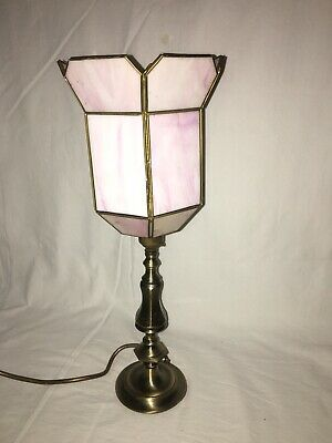 £5 • Buy Charming Table Lamp With Pink Stain Glass Shade, Working