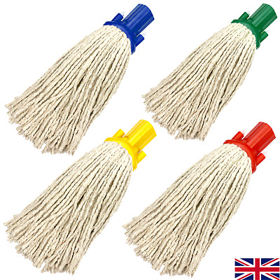£4.99 • Buy Cotton Mop Heads Replacement Colour Coded Floor Screw On Heavy Duty Socket Head