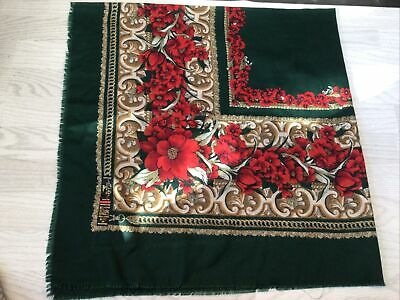 £2 • Buy Large Square Scarf/shawl Green With Red Poppies Pattern By Tie Rack
