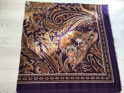 £2 • Buy Large Purple Square Scarf/shawl With Horse And Hounds Pattern By Tie Rack