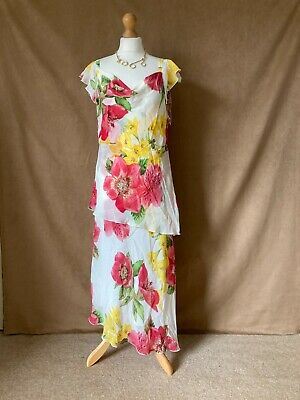AU23.57 • Buy Womens / Ladies Lined Ivory Floral Long Special Occasion Dress. Size 18