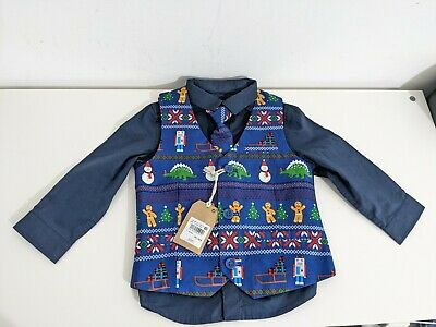 £14.50 • Buy Kids Christmas Shirt, Tie & Waistcoat Set 12-18 Months Blue By NEXT New With Tag