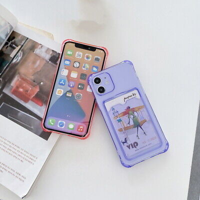 AU4.93 • Buy For IPhone 12 11 Pro MAX XS X XR 8 7 Plus Shockproof Card Slot Clear Case Cover