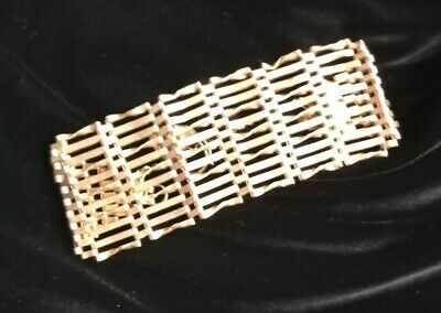 £630 • Buy Vintage 9Carat Gold Ten Bar Gate Bracelet With Heart Lock And Safety Chain